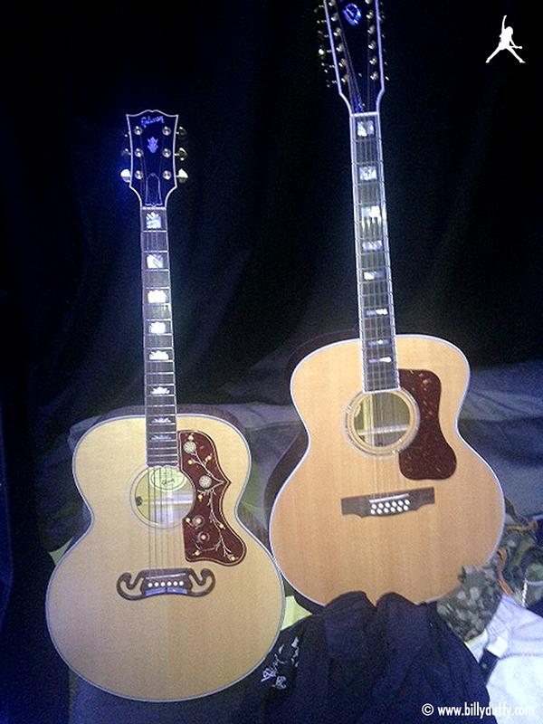 Billy Duffy's Jumbo acoustic guitars in the studio