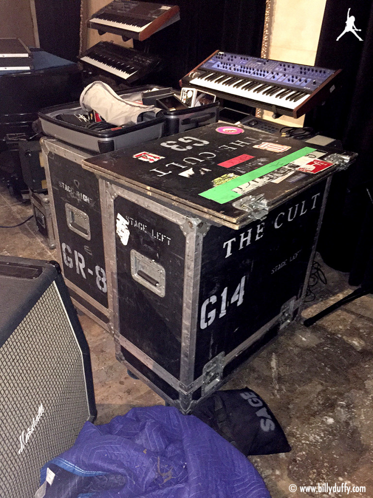 Billy Duffy's flight cases in the studio