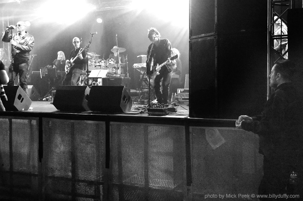Billy Duffy watches the Holy Holy soundcheck in Liverpool