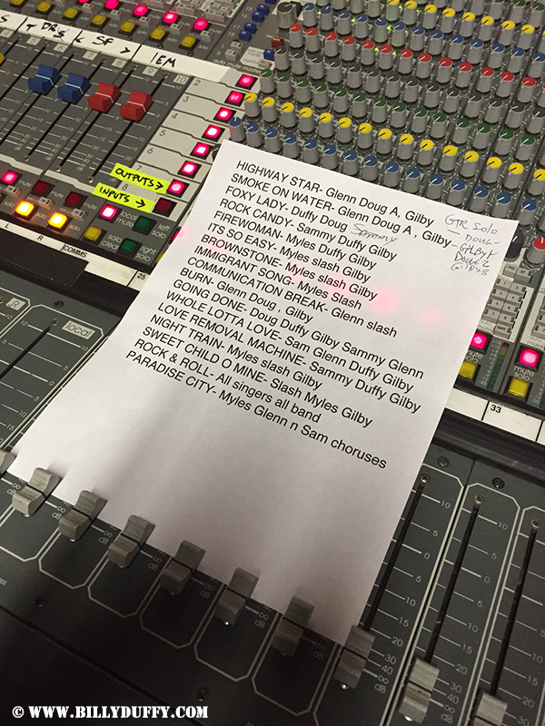 The set list... though some changed for the show...