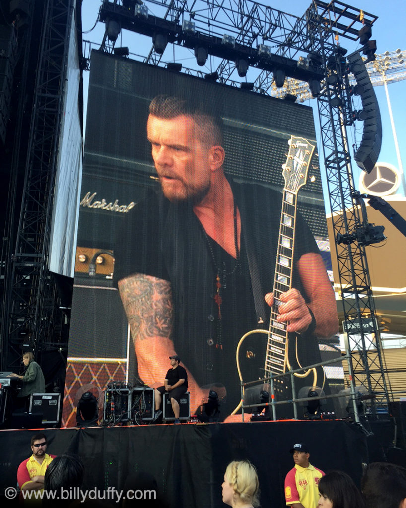 Billy Duffy on the Jumbotron...