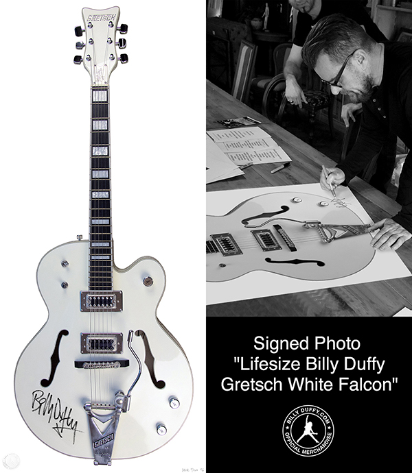 Billy Duffy signing life-size Gretsch White Falcon photo