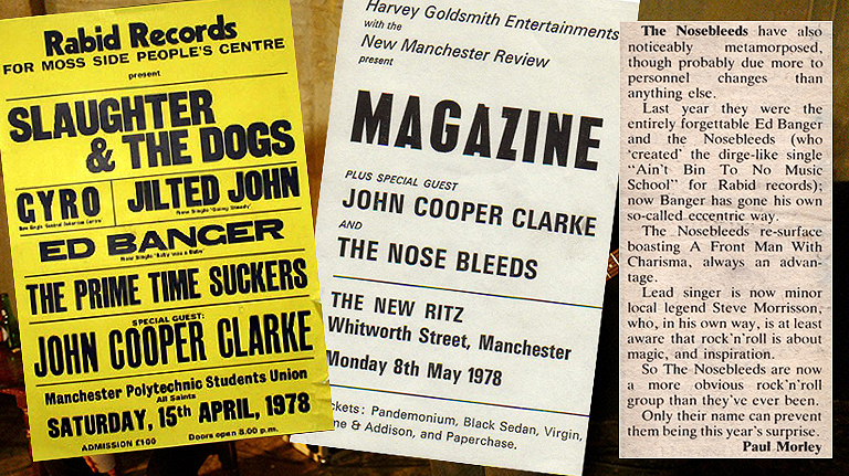 Original posters and a review from the two Nosebleeds gigs featuring Billy Duffy and Morrissey