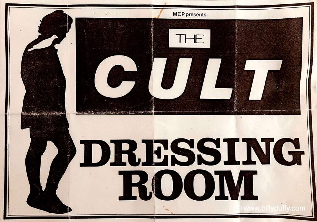 The Cult dressing room sign – Glasgow 1986