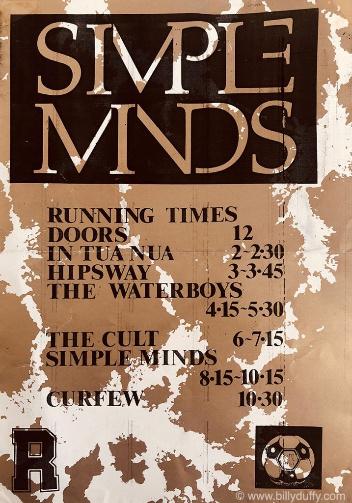 Running Times supporting Simple Minds – Glasgow 1986