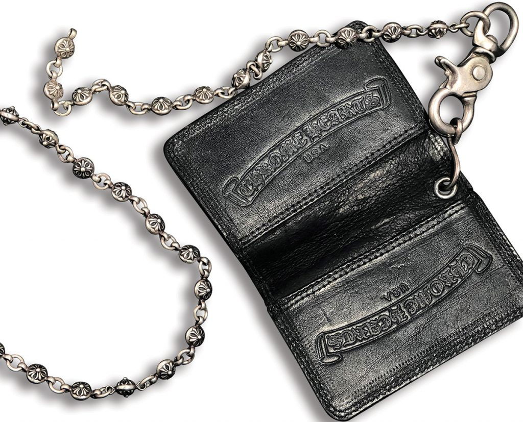 Billy Duffy's Chrome Hearts wallet and chain