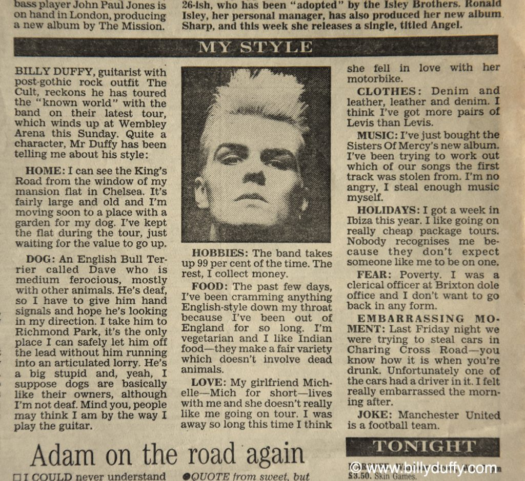 Billy Duffy's 'My Style' Evening Standard 24-11-87