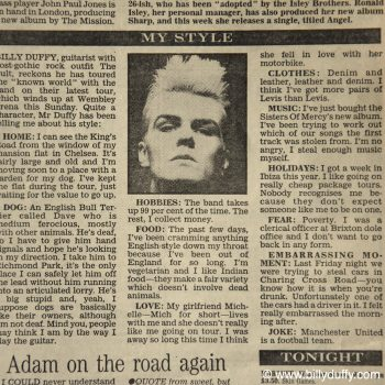 Billy's 'My Style' Evening Standard 24-11-87