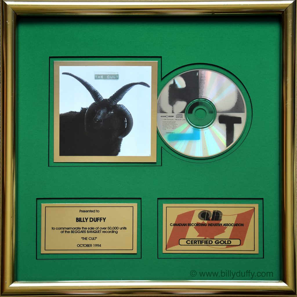 Billy's Gold Disc for 'The Cult' CD