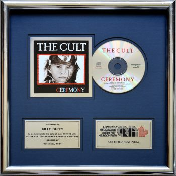 Billy's Canadian Platinum Disc for The Cult 'Ceremony'
