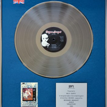Billy's UK Silver Disc for The Cult 'Dreamtime'