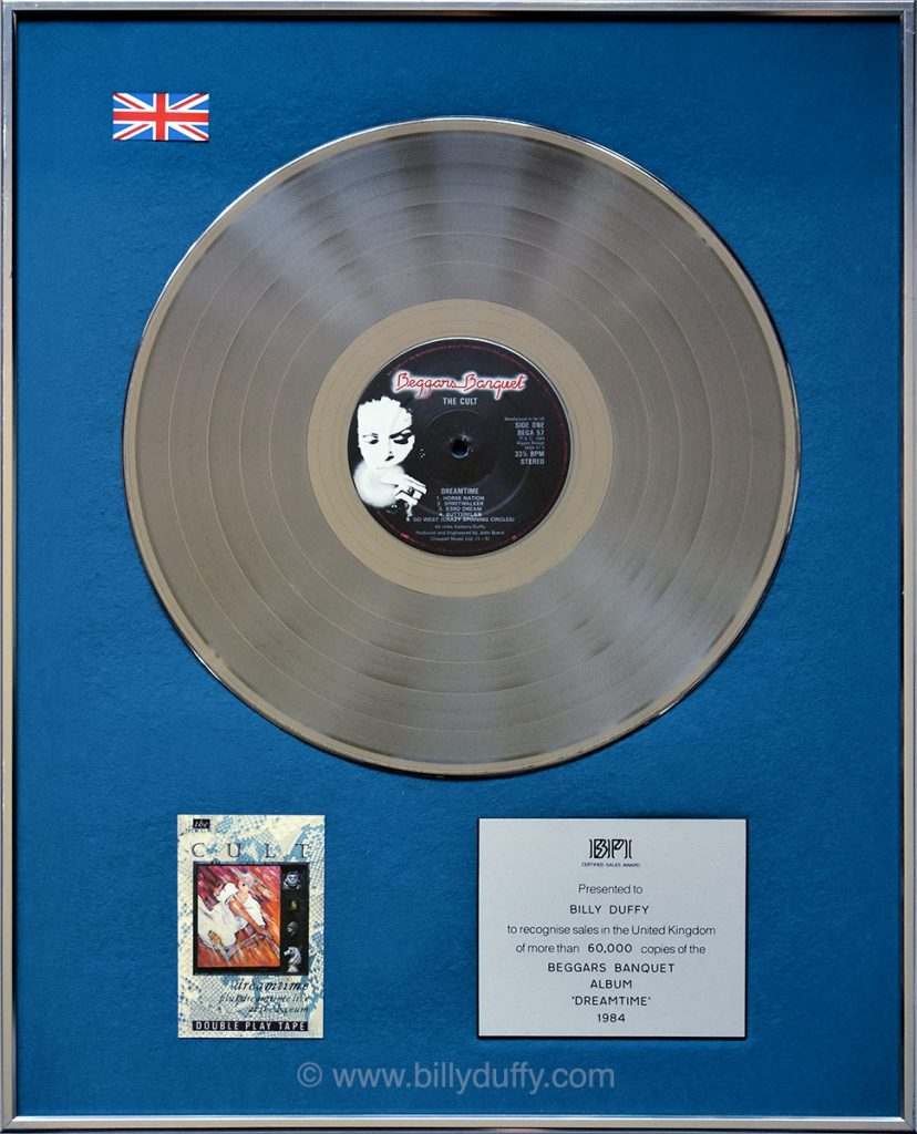 Billy Duffy's UK Silver Disc for The Cult 'Dreamtime' album