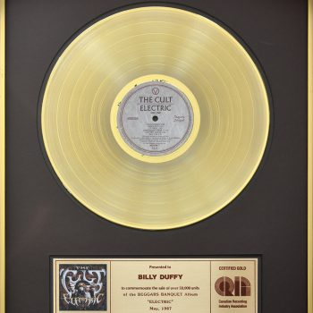 Billy's Canadian Gold Disc for The Cult 'Electric'