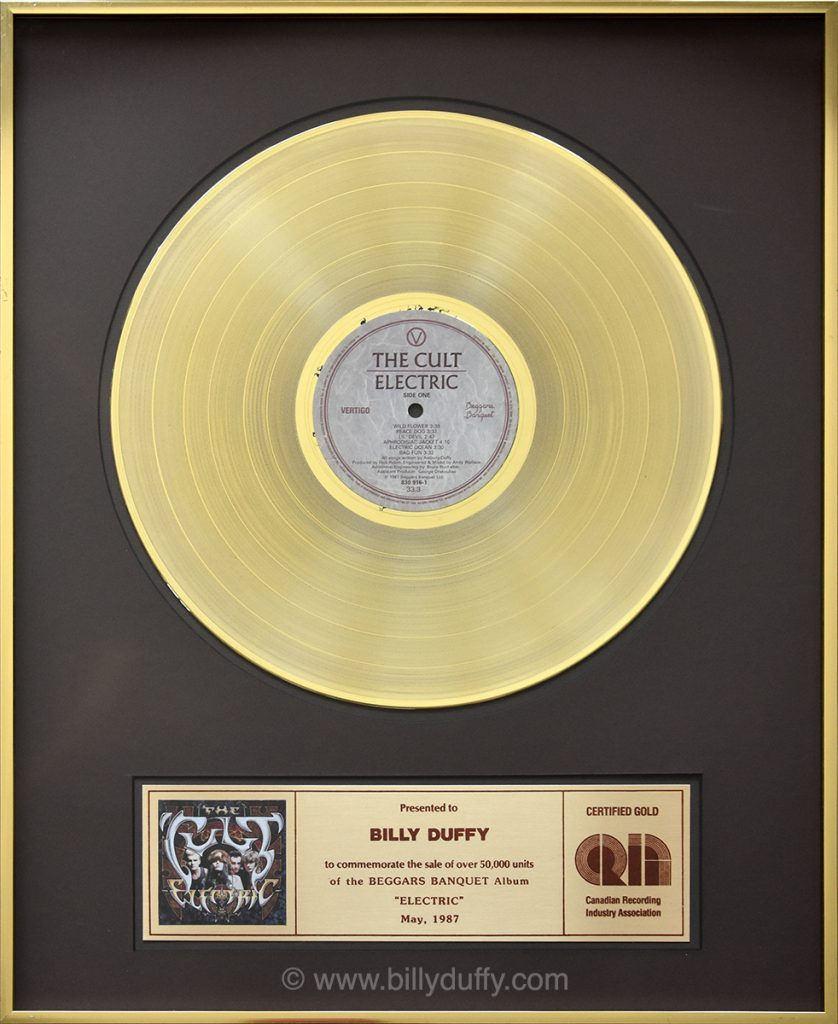 Billy Duffy's Canadian Gold Disc for The Cult 'Electric' album