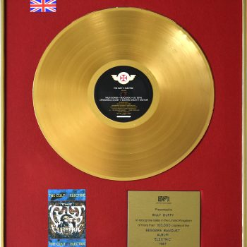 Billy's UK Gold Disc for The Cult 'Electric'