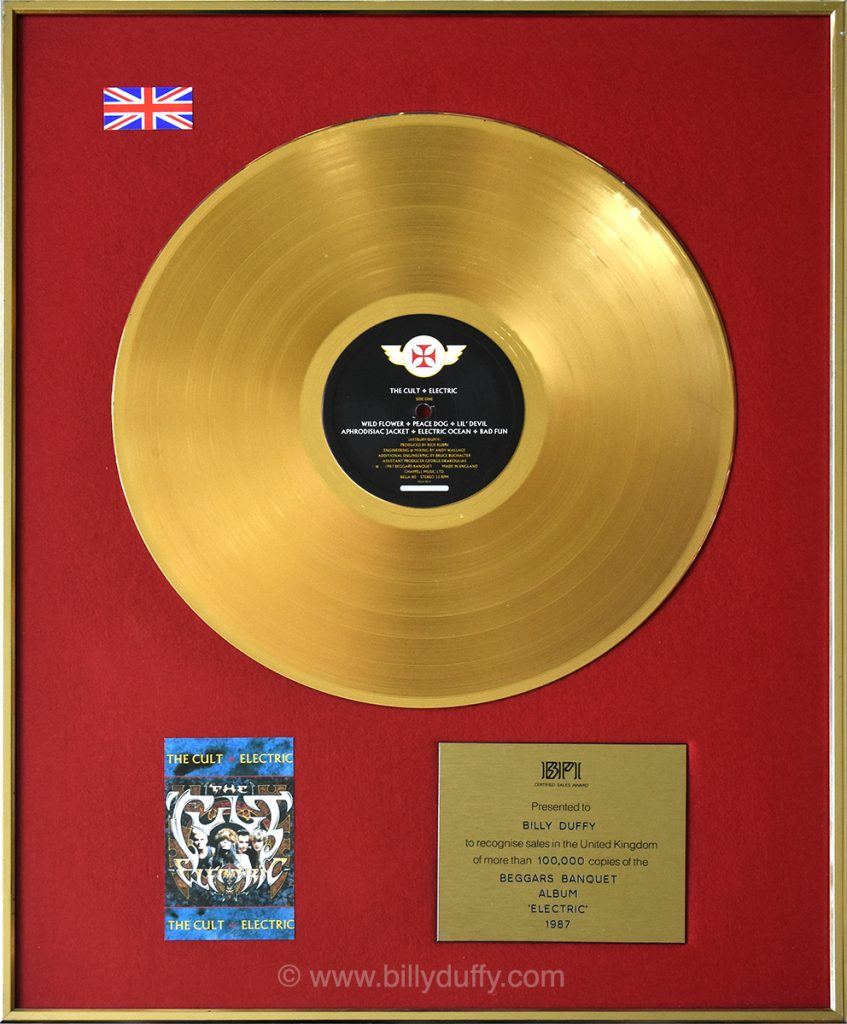 Billy Duffy's UK Gold Disc for The Cult 'Electric' album