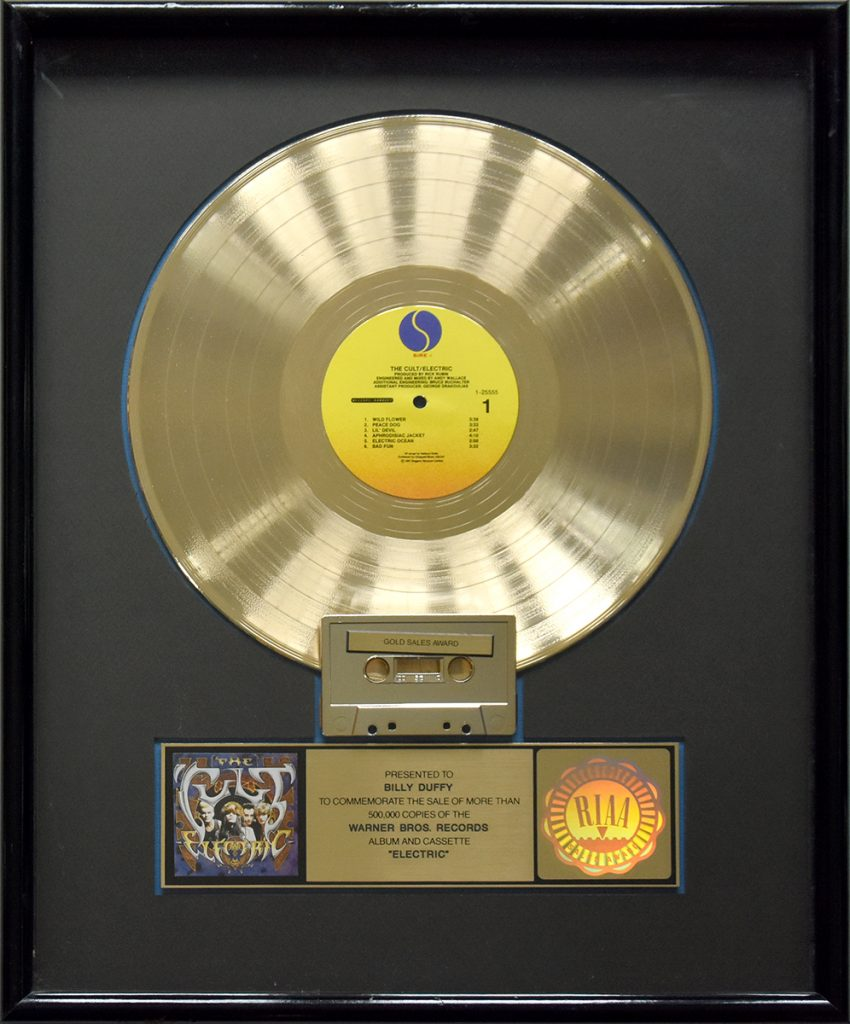 Billy Duffy's US Gold Disc for The Cult 'Electric' album