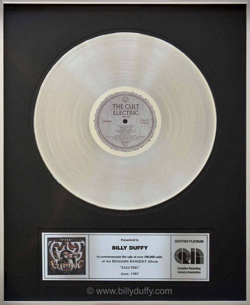 Billy Duffy's Canadian Platinum Disc for The Cult 'Electric' album