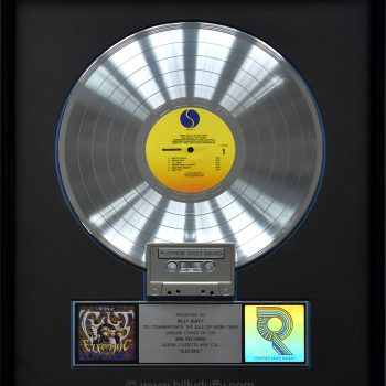 Billy's US  Platinum Disc for The Cult 'Electric'