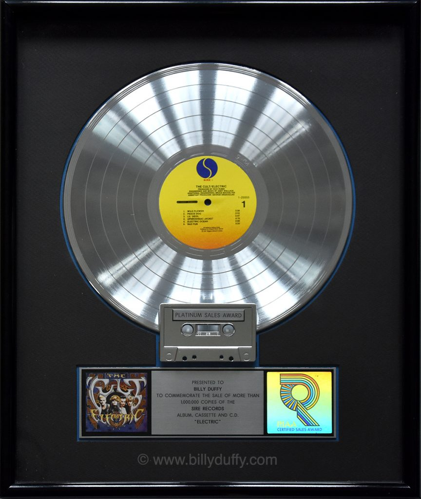 Billy Duffy's US Platinum Disc for The Cult 'Electric'
