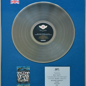 Billy's UK Silver Disc for The Cult 'Electric'