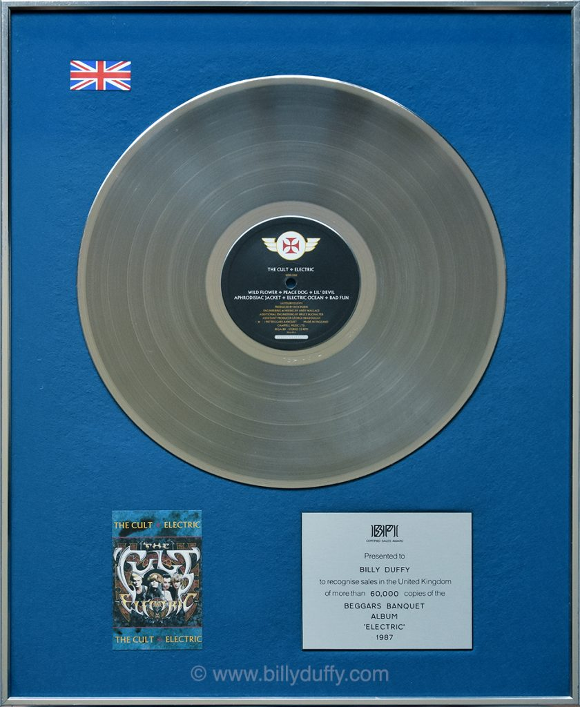 Billy Duffy's UK Silver Disc for The Cult 'Electric' album