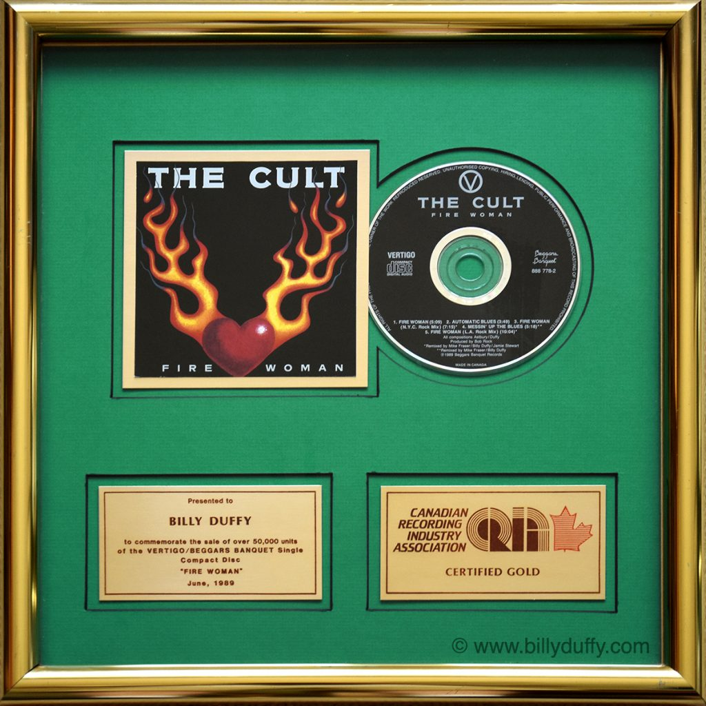 Billy's 'Fire Woman' Gold Disc