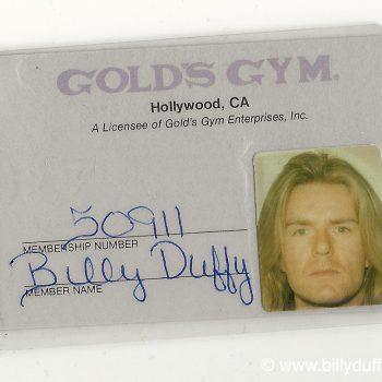 Billy's Gold's Gym Membership card