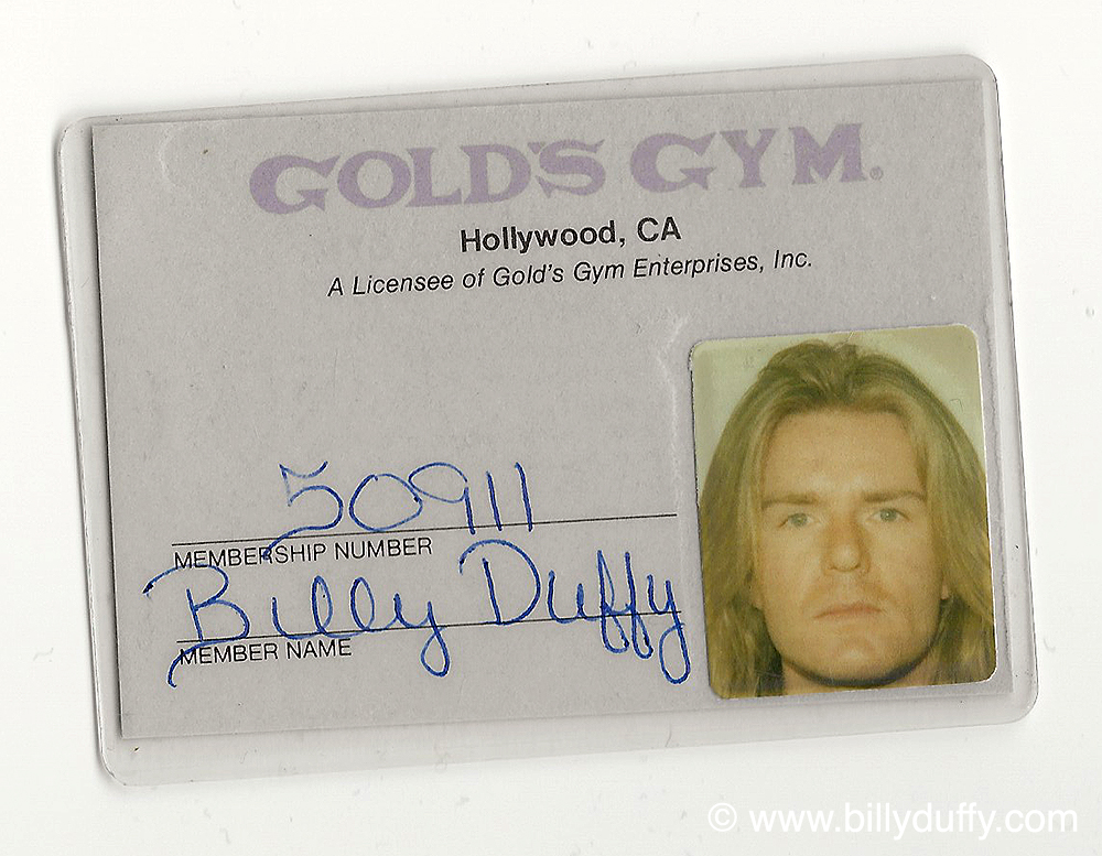 Billy Duffy's Gold's Gym Membership card 1989
