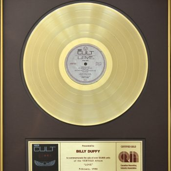 Billy's Canadian Gold Disc for The Cult 'Love'