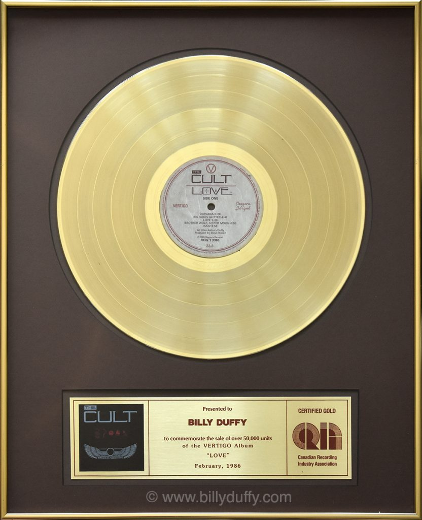 illy Duffy's Canadian Gold Disc for The Cult 'Love' album