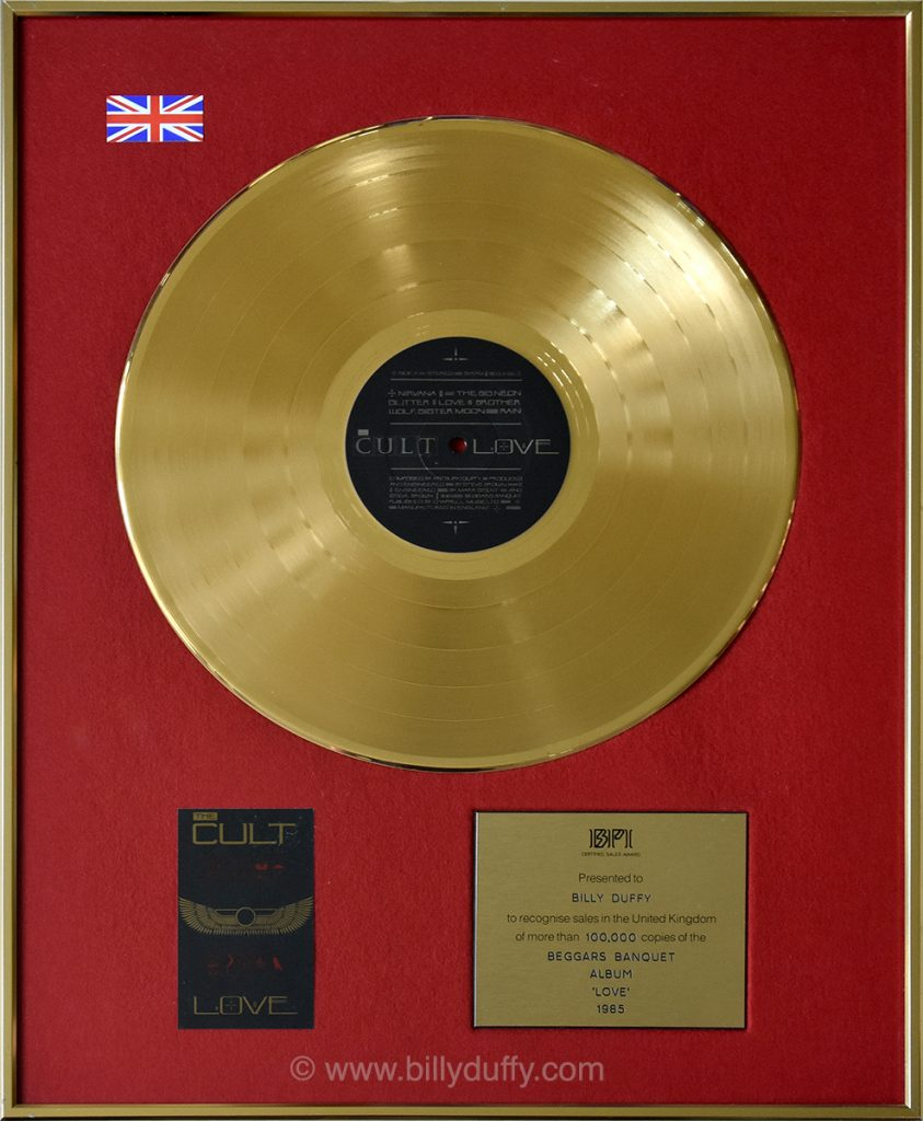 Billy Duffy's UK Gold Disc for The Cult 'Love' album