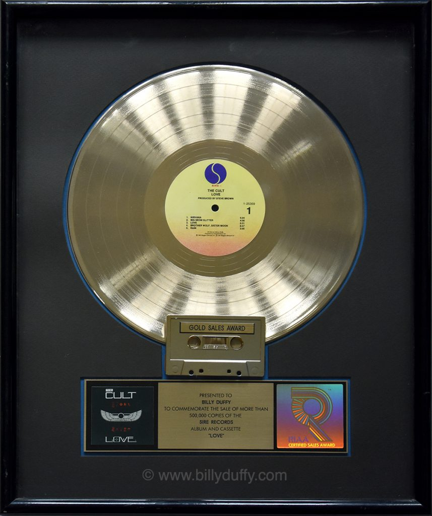 Billy Duffy's US Gold Disc for The Cult 'Love' album