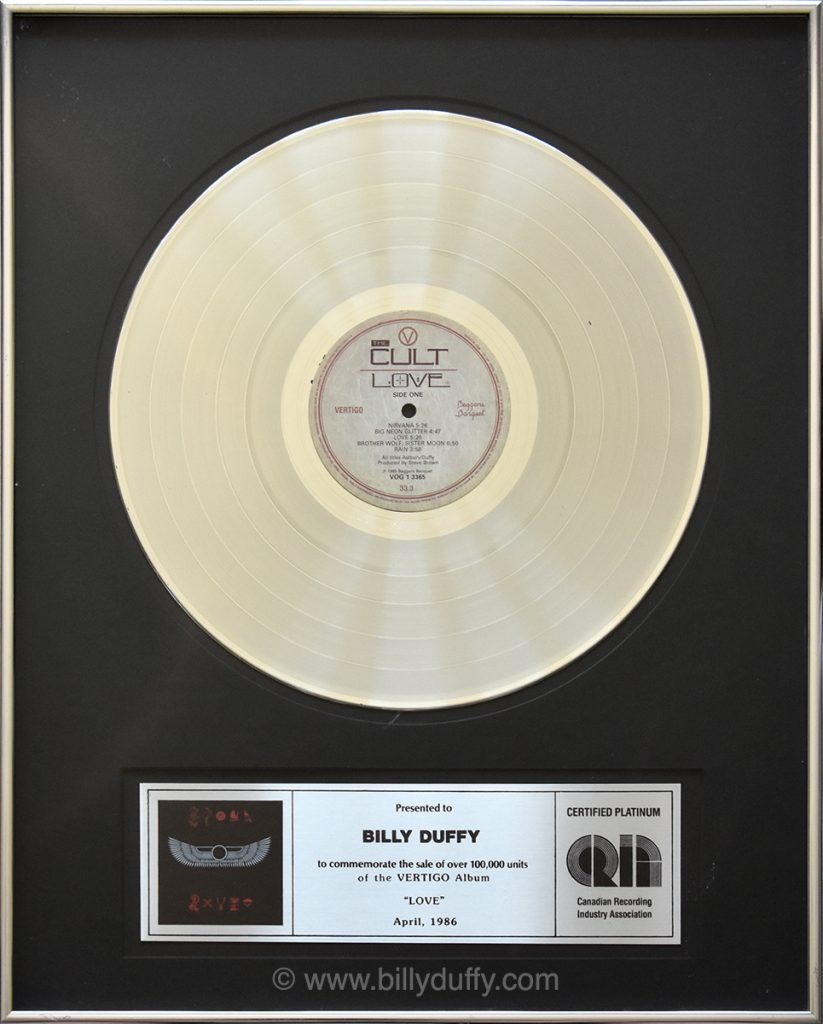 Billy Duffy's Canadian Platinum Disc for The Cult 'Love' album