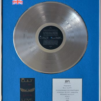 Billy's UK Silver Disc for The Cult 'Love'