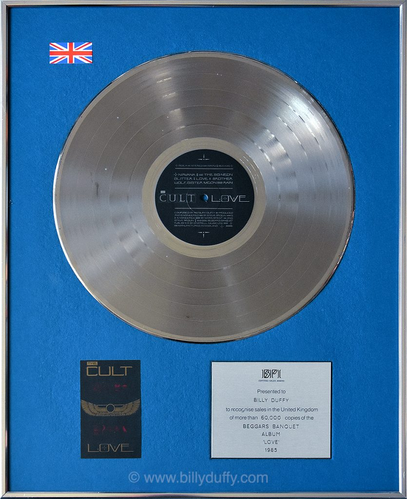 Billy Duffy's UK Silver Disc for The Cult 'Love' album