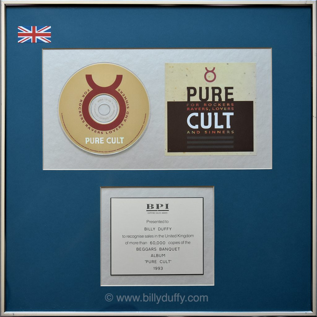 Billy Duffy's UK 'Pure Cult' Silver Disc