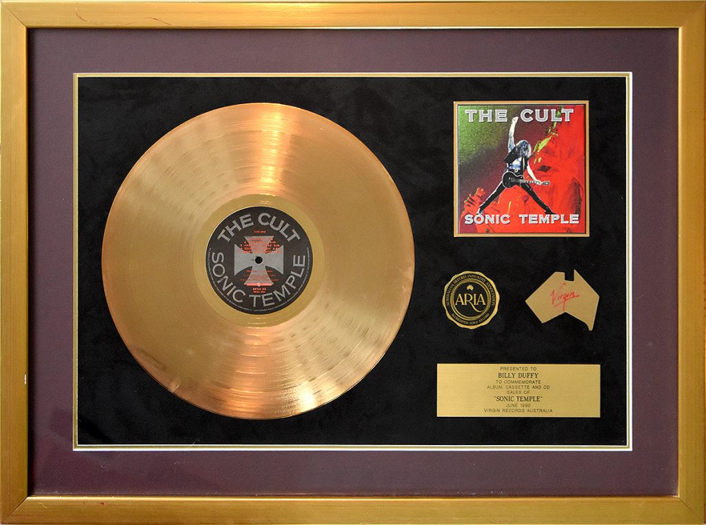 Billy Duffy's Australian Gold Disc for The Cult 'Sonic Temple' album