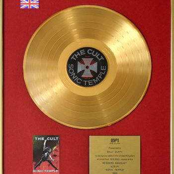 Billy's UK Gold Disc for The Cult 'Sonic Temple'