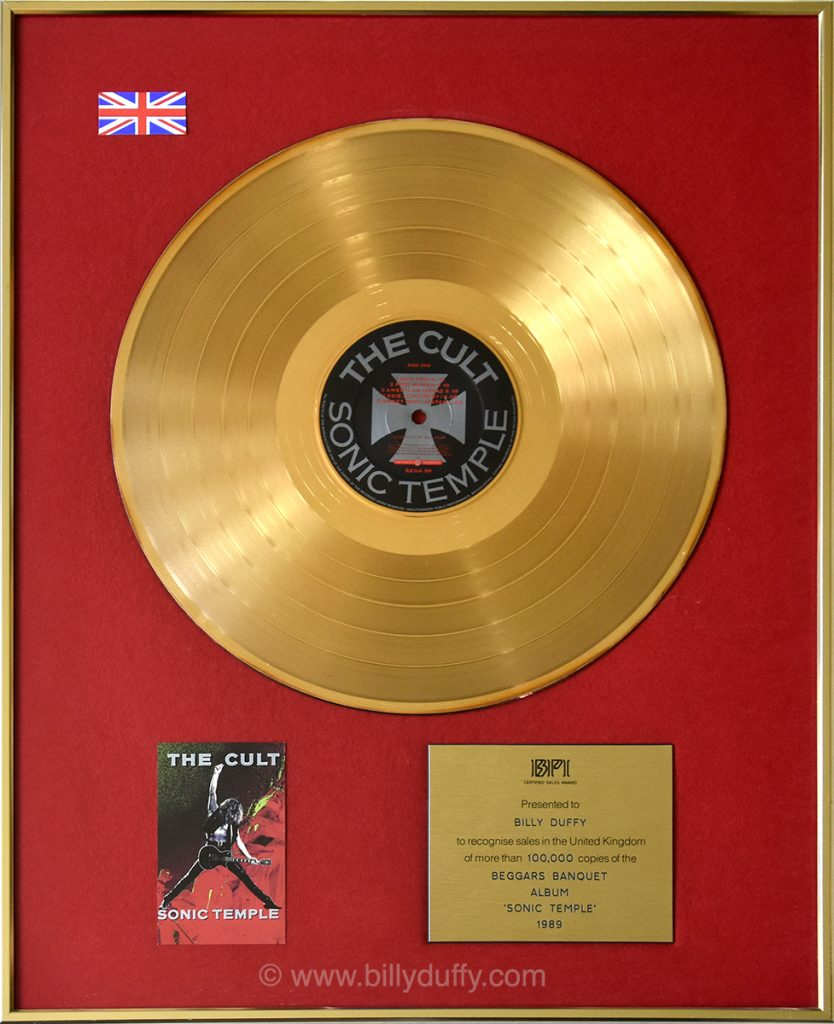 Billy Duffy's UK Gold Disc for The Cult 'Sonic Temple' album