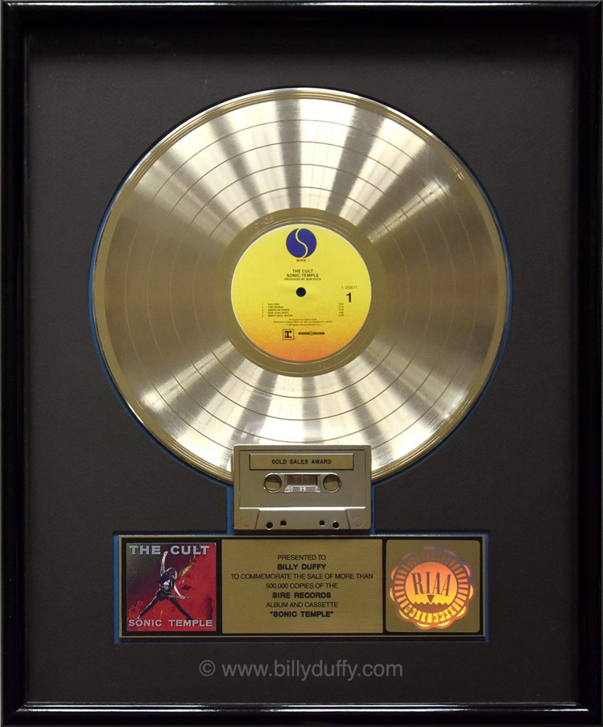 Billy Duffy's US Gold Disc for The Cult 'Sonic Temple' album