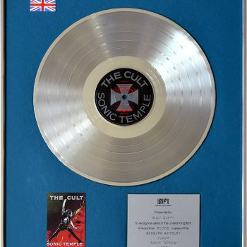 Billy's UK Silver Disc for The Cult 'Sonic Temple'