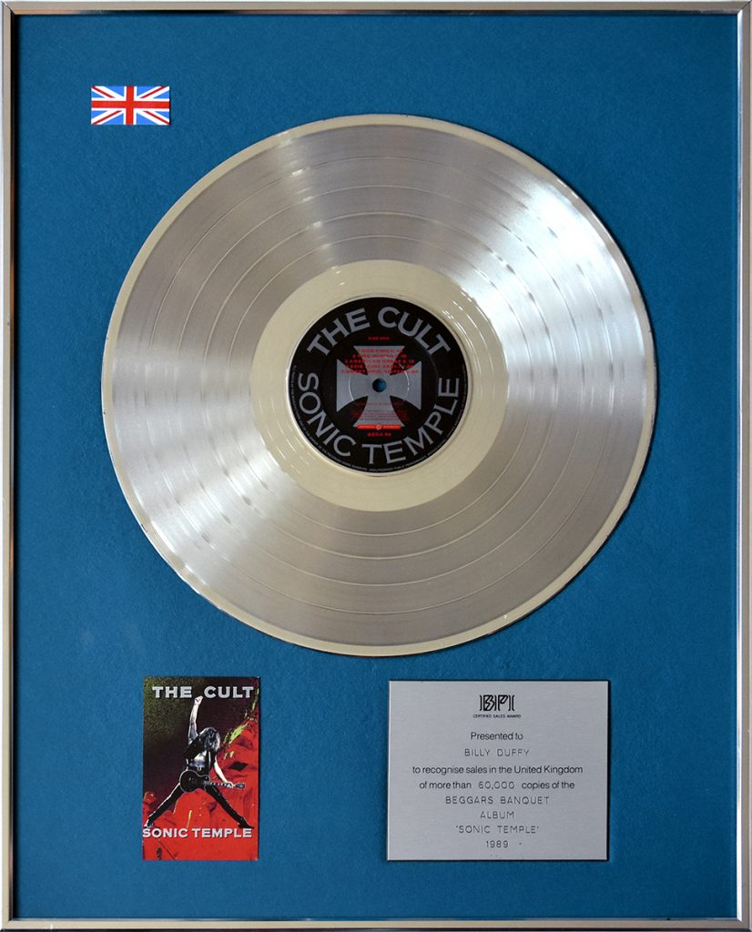 Billy Duffy's UK Silver Disc for The Cult 'Sonic Temple' album