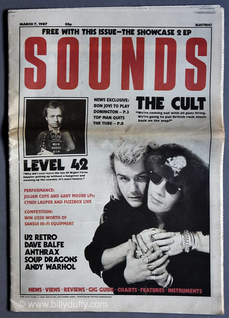 The Cult on Sounds Cover - March 87